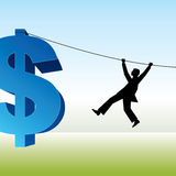 Man and rope with dollar sign Stock Photo