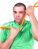 Man with the rope Stock Images