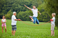 Man rope skipping in nature Royalty Free Stock Images