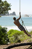 Man on rope swing. A portrait of a man on a rope swing admiring the beautiful sea view Royalty Free Stock Photography