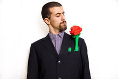 Man with rose Stock Image
