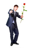 Man with a rose Stock Photo