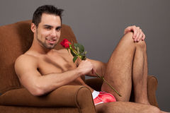 Man with Rose Stock Photo