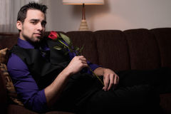 Man with Rose Royalty Free Stock Photos