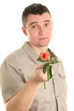 Man with rose Royalty Free Stock Photo