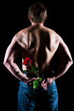 Man and rose Stock Image