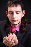 Man with rose Royalty Free Stock Photography