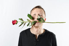 Man with rose Stock Photography