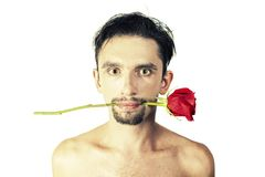 Man with a rose in its mouth Stock Photography