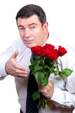 Man with roses Royalty Free Stock Image