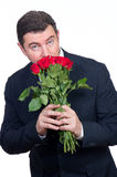 Man with roses Stock Image