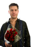 Man with roses. Handsome man is giving bouquet of roses, isolated on white background stock images