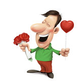 Man with roses and balloon. Man holding a heart-shaped red balloon and a bouquet of red roses Royalty Free Stock Photo