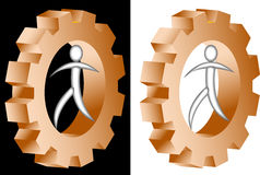 Man rotate the gear. Abstract drawing of man rotate the gear Stock Image
