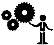 Man rotating gears vector illustration Stock Photo