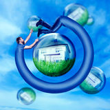 Man round his house. Long man running round his house in the water bulb Royalty Free Stock Images