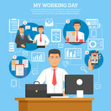 Man Daily Routine Poster Royalty Free Stock Image