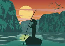 Man row boat to go to come back home by pass Ha long bay famous landmark of Vietnam ,vintage color. Vector illustration vector illustration