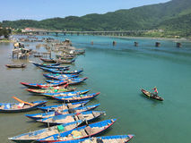 A man rowing boat at the Lang Co bay in Vietnam Stock Photography