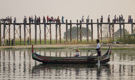A man rowing boat in Mandalay Royalty Free Stock Image