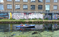 Man rowing on the canal Royalty Free Stock Photography