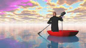 Man rowing oar in red upturned umbrella Royalty Free Stock Photos