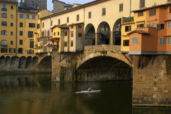 Man rowing shell beneath the Ponte Vecchio Stock Photography