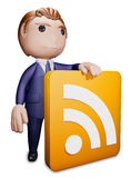 Man with rss. 3D illustration Royalty Free Stock Images