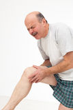 Man rubs sore knee. Cry because of pain. Pain from arthritis and arthrosis stock photo