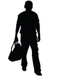 Man with rucksack. Silhouette of young man isolated on the white background Stock Images