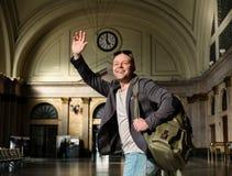 Man with rucksack Stock Photo