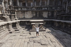 Man at ruins of Angkor Wat Stock Image