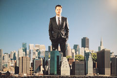 Man rules the city concept. Businessman rules the city concept Stock Photography