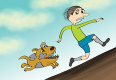 Man run away from angry dog, cartoon Royalty Free Stock Images