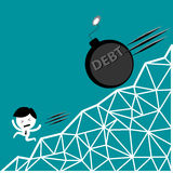 Man run away from debt bomb down hill, financial problem. Vector concept Royalty Free Stock Images