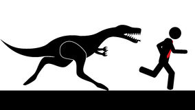 Man run from dinosaur. Illustration (vector) of a person that is running from a dinosaur Stock Photo