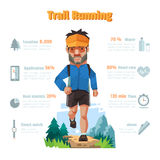 A man run in the forrest, Trail running, Infographic elements. A man run in the forrest, Trail running, Infographic elements, Vector illustration Royalty Free Stock Photo
