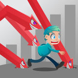 Man Run Stock Market Monster Down Vector Royalty Free Stock Images