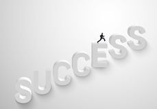 Man run up stairs for success Royalty Free Stock Photo