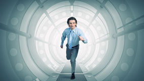 Man run in virtual room  . Mixed media Royalty Free Stock Photography