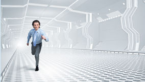 Man run in virtual room Stock Photos