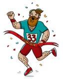 Man runner cross the finish line. Cartoon style. Marathon. Vector illustration Stock Photos
