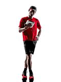 Man runner jogger digital tablets ipad silhouette Royalty Free Stock Photography