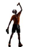 Man runner jogger drinking silhouette Stock Images