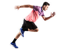 Man runner jogger running isolated. Fitness man running isolated on a white background Royalty Free Stock Photography