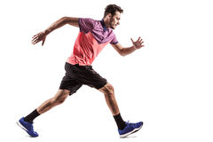 Man runner jogger running isolated. Fitness man running isolated on a white background Stock Photo