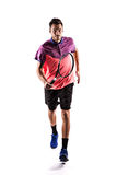 Man runner jogger running isolated. Tennis player running isolated on a white background Stock Image