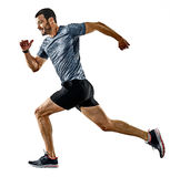 Man runner jogger running jogging isolated shadows Royalty Free Stock Images