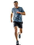 Man runner jogger running jogging isolated shadows. One caucasian man runner jogger running jogging isolated on white background with shadows stock image