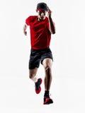 Man runner jogger running jogging jumping silhouette Stock Image